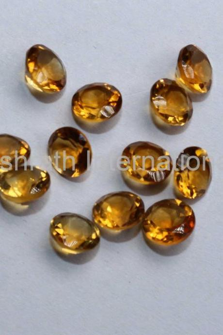 6mm Natural Citrine Faceted Cut Round 2 Piece (1 Pair) Yellow Color (AA) Calibrated Size Top Quality Loose Gemstone