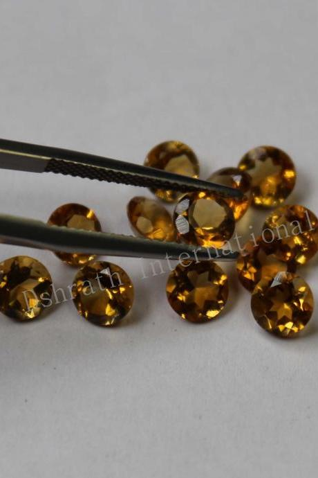 10mm Natural Citrine Faceted Cut Round 2 Piece (1 Pair) Yellow Color (AA) Calibrated Size Top Quality Loose Gemstone
