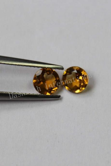 14mm Natural Citrine Faceted Cut Round 10 Pieces Lot Yellow Color (AA) Calibrated Size Top Quality Loose Gemstone