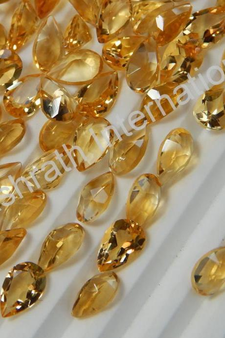 6x8mm Natural Citrine Faceted Cut Pear 25 Pieces Lot Yellow Color (AA) Calibrated Size Top Quality Loose Gemstone