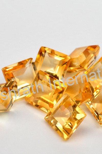 4mm Natural Citrine Faceted Cut Square 1 Piece Yellow Color (AA) Calibrated Size Top Quality Loose Gemstone