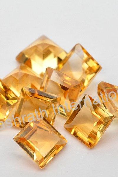 6mm Natural Citrine Faceted Cut Square 100 Pieces Lot Yellow Color (AA) Calibrated Size Top Quality Loose Gemstone