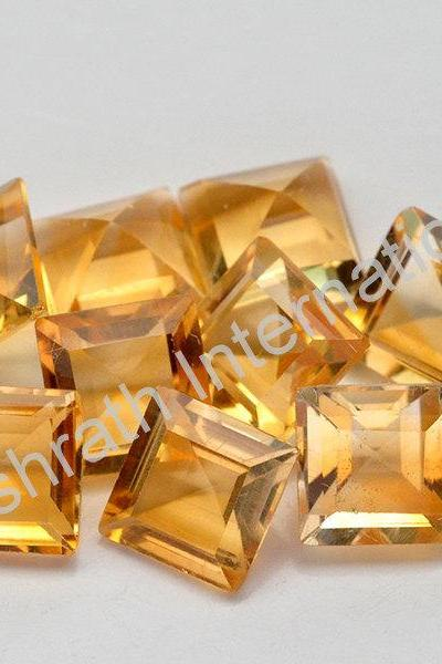 7mm Natural Citrine Faceted Cut Square 75 Pieces Lot Yellow Color (AA) Calibrated Size Top Quality Loose Gemstone