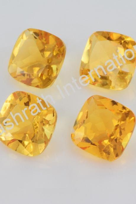 7mm Natural Citrine Faceted Cut Cushion 50 Pieces Lot Yellow Color (AA) Calibrated Size Top Quality Loose Gemstone