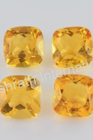 8mm Natural Citrine Faceted Cut Cushion 50 Pieces Lot Yellow Color (AA) Calibrated Size Top Quality Loose Gemstone