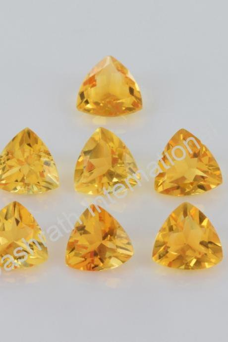 4mm Natural Citrine Faceted Cut Trillion 25 Pieces Lot Yellow Color (AA) Calibrated Size Top Quality Loose Gemstone