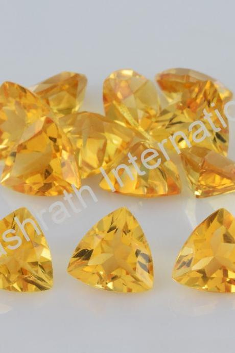 8mm Natural Citrine Faceted Cut Trillion 2 Piece (1 Pair) Yellow Color (AA) Calibrated Size Top Quality Loose Gemstone