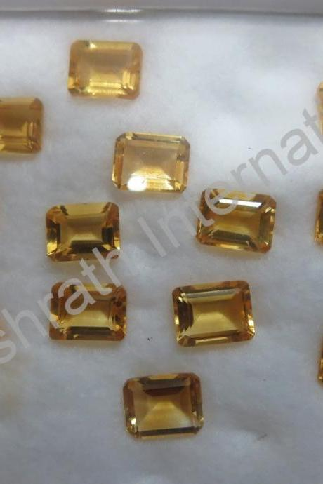 6x8mm Natural Citrine Faceted Cut Octagon 25 Pieces Lot Yellow Color (AA) Calibrated Size Top Quality Loose Gemstone