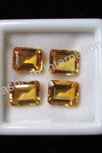 10x14mm Natural Citrine Faceted Cut Octagon 2 Piece (1 Pair) Yellow Color (AA) Calibrated Size Top Quality Loose Gemstone