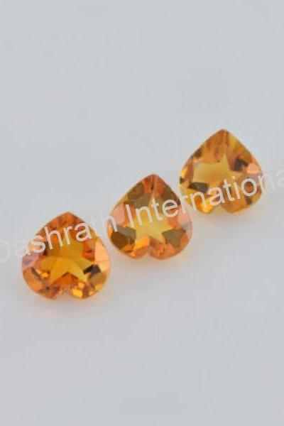 6mm Natural Citrine Faceted Cut Heart 2 Piece (1 Pair) Yellow Color (AA) Calibrated Size Top Quality Loose Gemstone