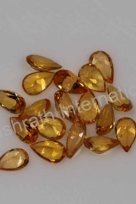 4x6mm Natural Orange Garnet Faceted Cut Pear 5 Pieces Lot Orange Color Calibrated Size Top Quality Loose Gemstone