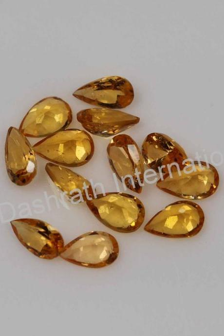 8x6mm Natural Orange Garnet Faceted Cut Pear 2 Piece(1 Pair ) Orange Color Calibrated Size Top Quality Loose Gemstone