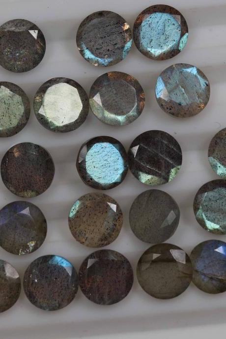 6mm Natural Labradorite Faceted Cut Round 2 Piece (1 Pair) Gray Color Blue Power Calibrated Size Top Quality Loose Gemstone