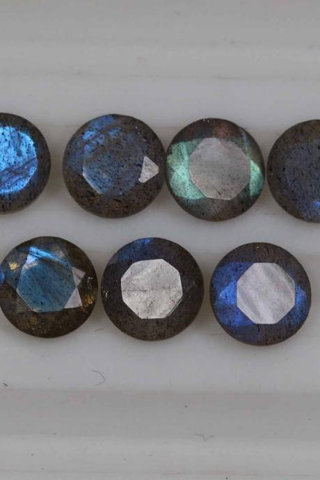 14mm Natural Labradorite Faceted Cut Round 50 Pieces Lot Gray Color Blue Power Calibrated Size Top Quality Loose Gemstone