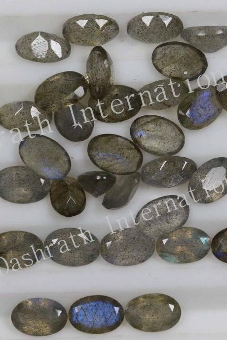 4x6mm Natural Labradorite Faceted Cut Oval 5 Pieces Lot Gray Color Blue Power Calibrated Size Top Quality Loose Gemstone