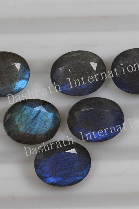 7x5mm Natural Labradorite Faceted Cut Oval 5 Pieces Lot Gray Color Blue Power Calibrated Size Top Quality Loose Gemstone