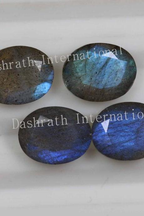 14x10mm Natural Labradorite Faceted Cut Oval 50 Pieces Lot Gray Color Blue Power Calibrated Size Top Quality Loose Gemstone