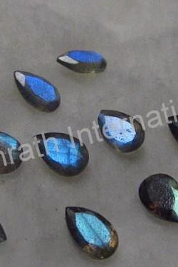 8x6mm Natural Labradorite Faceted Cut Pear 5 Pieces Lot Gray Color Blue Power Calibrated Size Top Quality Loose Gemstone