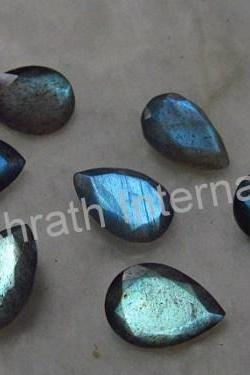7x9mm Natural Labradorite Faceted Cut Pear 25 Pieces Lot Gray Color Blue Power Calibrated Size Top Quality Loose Gemstone