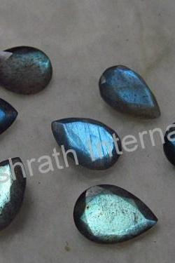 7x10mm Natural Labradorite Faceted Cut Pear 100 Pieces Lot Gray Color Blue Power Calibrated Size Top Quality Loose Gemstone