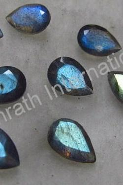 18x13mm Natural Labradorite Faceted Cut Pear 25 Pieces Lot Gray Color Blue Power Calibrated Size Top Quality Loose Gemstone