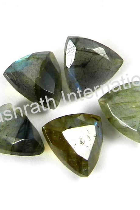 9mm Natural Labradorite Faceted Cut Trillion 5 Pieces Lot Gray Color Blue Power Calibrated Size Top Quality Loose Gemstone