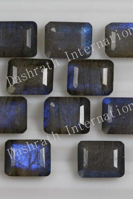 16x12mm Natural Labradorite Faceted Cut Octagon 10 Pieces Lot Gray Color Blue Power Calibrated Size Top Quality Loose Gemstone