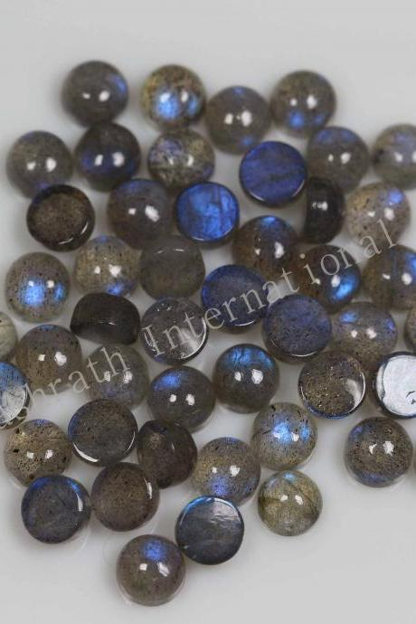 4mm Natural Labradorite Cabochon Round 5 Pieces Lot Gray Color Blue Power Calibrated Size Top Quality Loose Gemstone