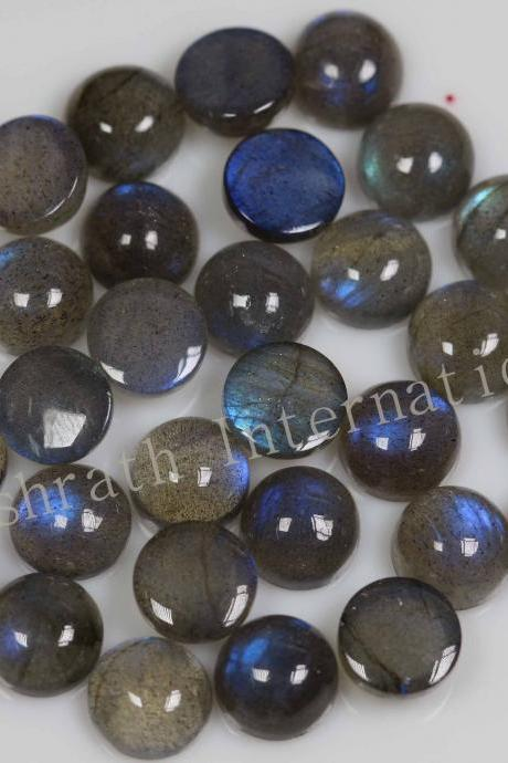 7mm Natural Labradorite Cabochon Round 10 Pieces Lot Gray Color Blue Power Calibrated Size Top Quality Loose Gemstone