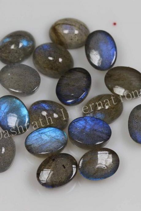 7x5mm Natural Labradorite Cabochon Oval 5 Pieces Lot Gray Color Blue Power Calibrated Size Top Quality Loose Gemstone