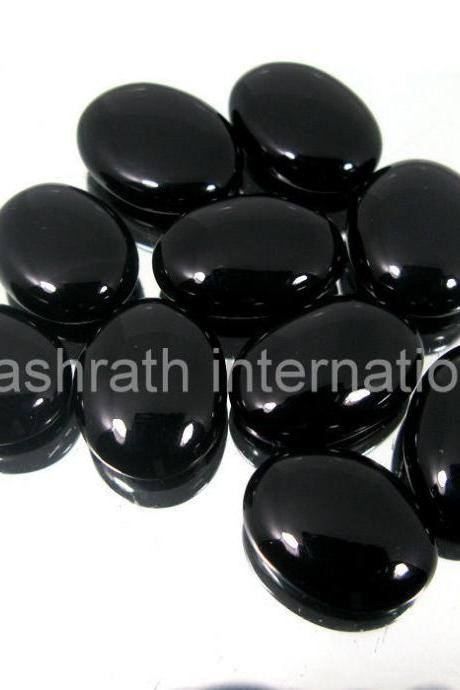 8x10mm Natural Black Onyx Cabochon Oval 25 Pieces Lot Top Quality Black Color Loose Gemstone Wholesale Lot For Sale