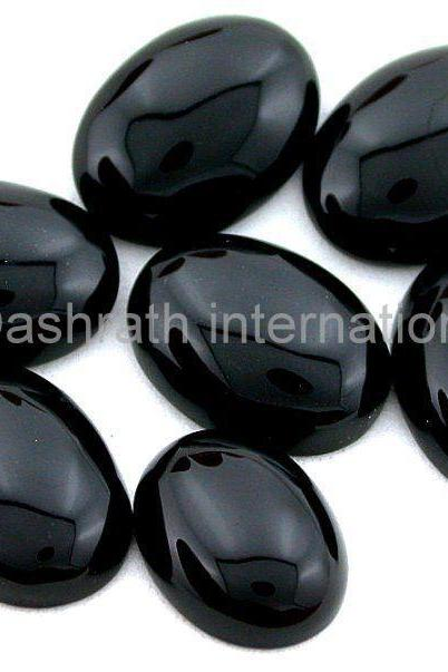 10x14mm Natural Black Onyx Cabochon Oval 2 Piece (1 Pair ) Top Quality Black Color Loose Gemstone Wholesale Lot For Sale