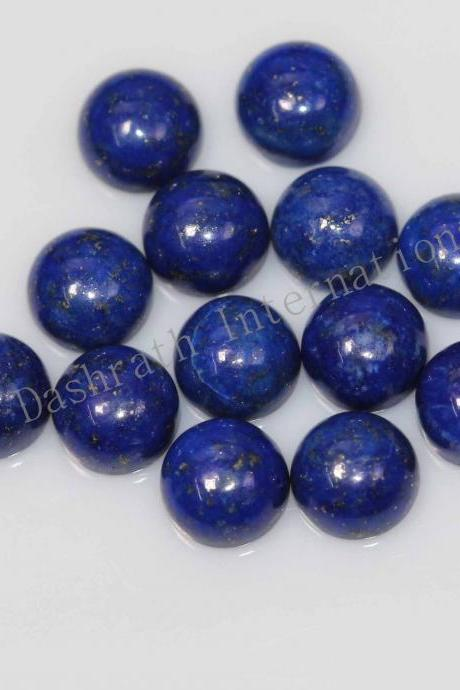 7mm Natural Lapis Lapuli Cabochon Round 75 Pieces Lot Blue Color Top Quality Loose Gemstone