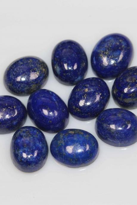 8x6mm Natural Lapis Lapuli Cabochon OVal 2 Piece (1 Pair ) Blue Color Top Quality Loose Gemstone