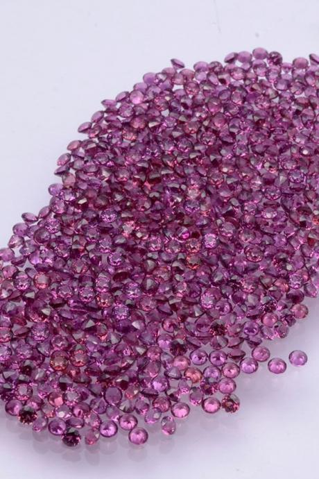 1.25mm Natural Rhodolite Garnet Faceted Cut Round 75 Pieces Lot Red Pink Color Top Quality Loose Gemstone