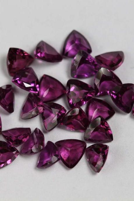 8mm Natural Rhodolite Garnet Faceted Cut Trillion 1 Piece Red Pink Color Top Quality Loose Gemstone