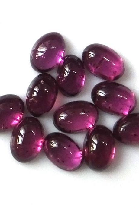 4x3mm Natural Rhodolite Garnet Cabochon Oval 10 Pieces Lot Red Pink Color Top Quality Loose Gemstone