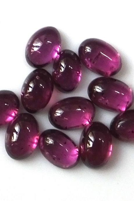 10x8mm Natural Rhodolite Garnet Cabochon Oval 2 Piece (1 Pair ) Red Pink Color Top Quality Loose Gemstone