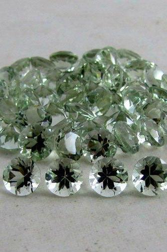6mm Natural Green Amethyst Faceted Cut Round 2 Piece (1 Pair ) Green Color Top Quality Loose Gemstone