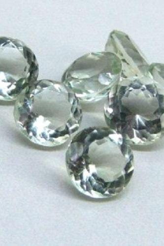 15mm Natural Green Amethyst Faceted Cut Round 2 Piece (1 Pair ) Green Color Top Quality Loose Gemstone