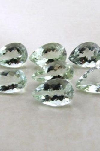 10x7mm Natural Green Amethyst Faceted Cut Pear 2 Piece (1 Pair ) Green Color Top Quality Loose Gemstone