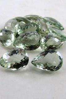 14x10mm Natural Green Amethyst Faceted Cut Pear 100 Pieces Lot Green Color Top Quality Loose Gemstone