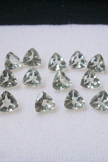 3mm Natural Green Amethyst Faceted Cut Trillion 2 Piece (1 Pair ) Green Color Top Quality Loose Gemstone