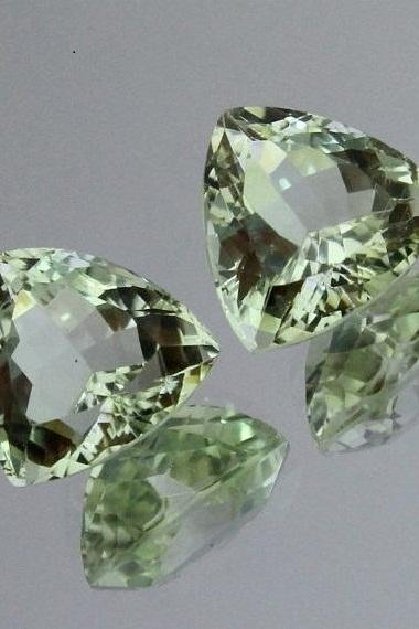 5mm Natural Green Amethyst Faceted Cut Trillion 50 Pieces Lot Green Color Top Quality Loose Gemstone
