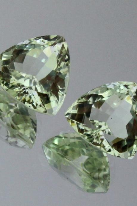8mm Natural Green Amethyst Faceted Cut Trillion 2 Piece (1 Pair ) Green Color Top Quality Loose Gemstone