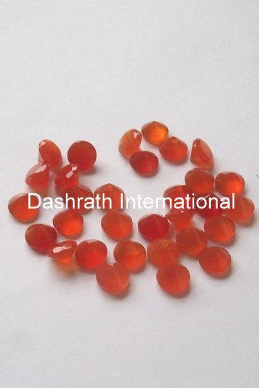 5mm Natural Carnelian Faceted Cut Round 5 Pieces Lot Calibrated Size Top Quality Orange Color Loose Gemstone
