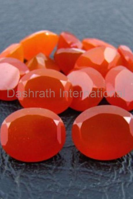 10x8mm Natural Carnelian Faceted Cut Oval 100 Pieces Lot Calibrated Size Top Quality Orange Color Loose Gemstone