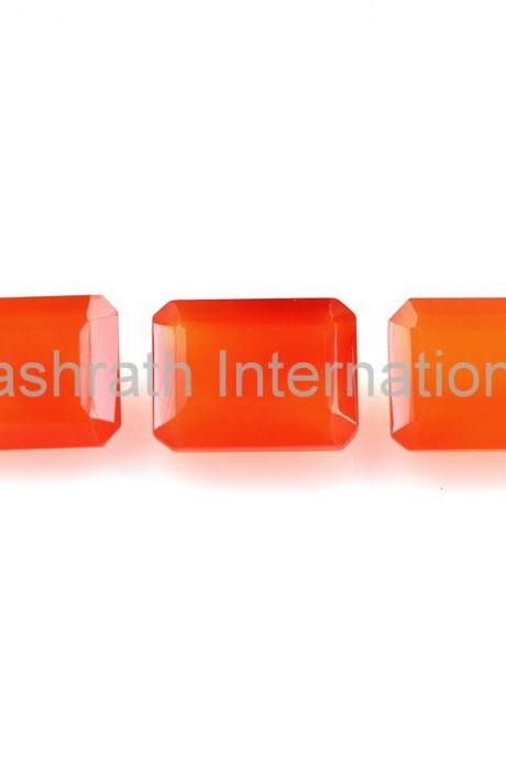 7x5mm Natural Carnelian Faceted Cut Octagon 5 Pieces Lot Calibrated Size Top Quality Orange Color Loose Gemstone
