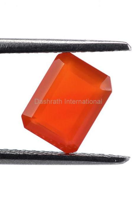 10x8mm Natural Carnelian Faceted Cut Octagon 50 Pieces Lot Calibrated Size Top Quality Orange Color Loose Gemstone