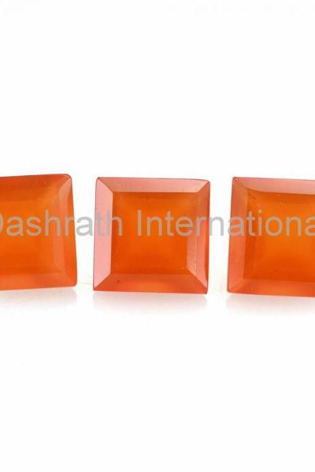 5mm Natural Carnelian Faceted Cut Square 10 Pieces Lot Calibrated Size Top Quality Orange Color Loose Gemstone